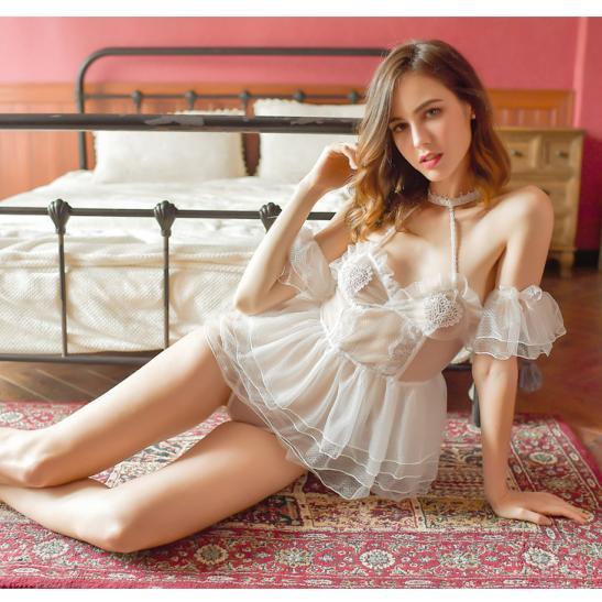 Váy ngủ cô dâu quyến rũ kèm quần lót nữ ren + vòng tay gợi cảm - Ảnh 4