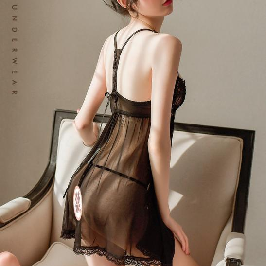 Đầm ngủ xẻ ngực cùng quần lót nữ gợi cảm - Ảnh 2