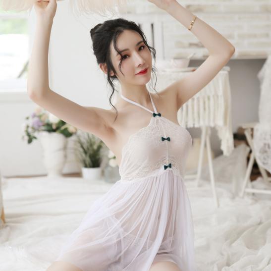 Đầm ngủ hở lưng yếm kèm quần lót nữ sexy - Ảnh 2
