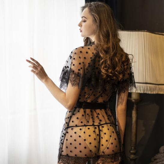 Áo khoác ngủ sexy ren bèo phủ vai TK2587 - Ảnh 1