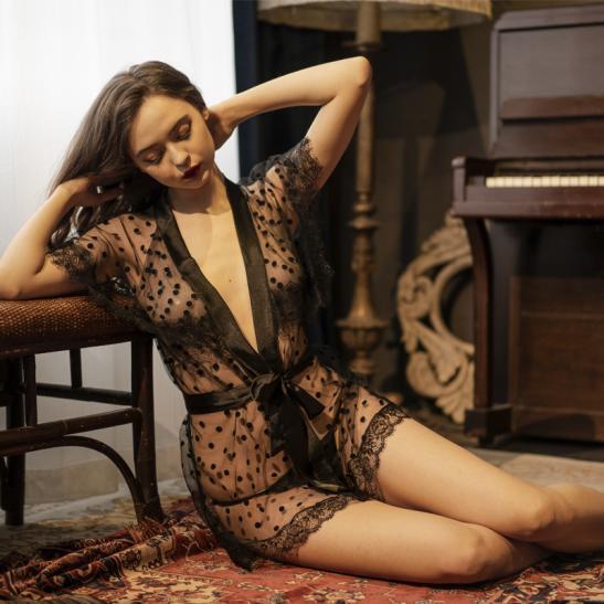 Áo khoác ngủ sexy ren bèo phủ vai TK2587 - Ảnh 2