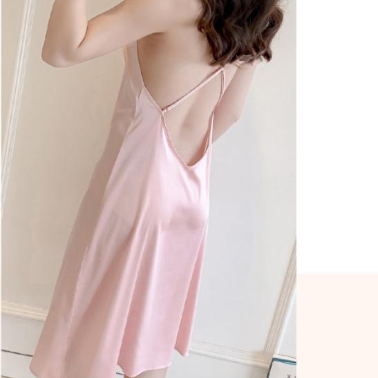 Đầm ngủ dài xẻ hông gợi cảm (đen, đỏ, hồng) - Ảnh 3
