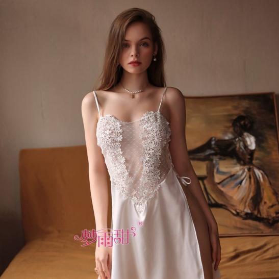 Váy ngủ nữ ren hoa phối lụa xẻ tà gợi cảm TK2580 (trắng, hồng) - Ảnh 1