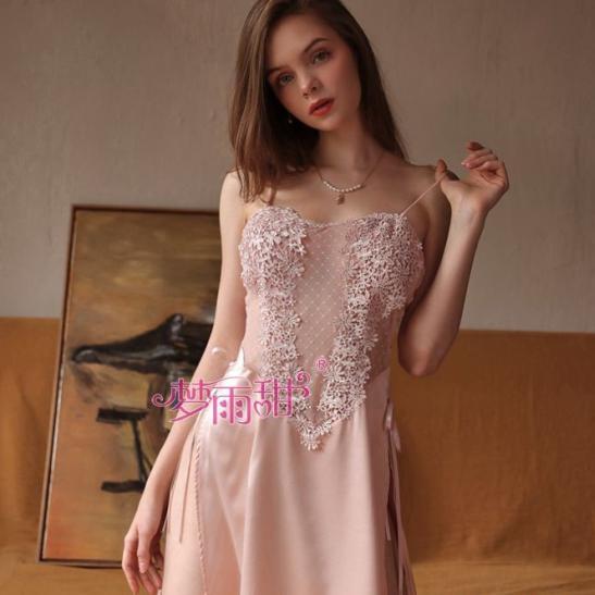 Váy ngủ nữ ren hoa phối lụa xẻ tà gợi cảm TK2580 (trắng, hồng) - Ảnh 2