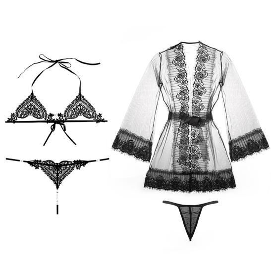 Váy ngủ 2 dây kèm quần lót lưới nữ trong suốt + Áo ngực thể thao - Ảnh 5