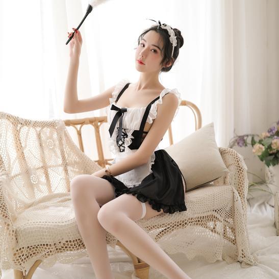 Váy ngủ cosplay hầu gái dạng yếm sexy - Ảnh 4