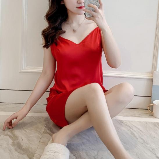 Váy ngủ lụa trơn mịn mát TK2274 (đen, đỏ, xanh lá, hồng) - Ảnh 3