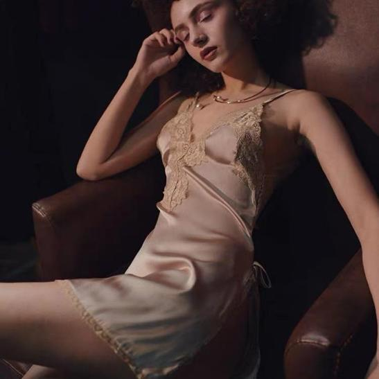 váy lụa pha viền ren - Ảnh 1