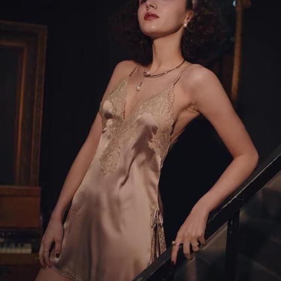 váy lụa pha viền ren - Ảnh 2