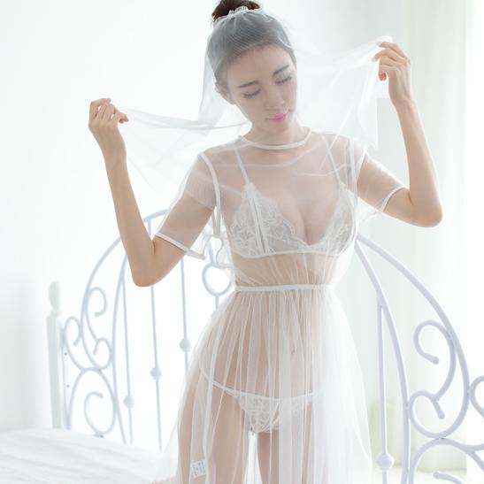 Đầm ngủ cô dâu trắng trong suốt - Ảnh 3