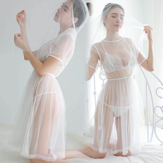 Đầm ngủ cô dâu trắng trong suốt - Ảnh 1