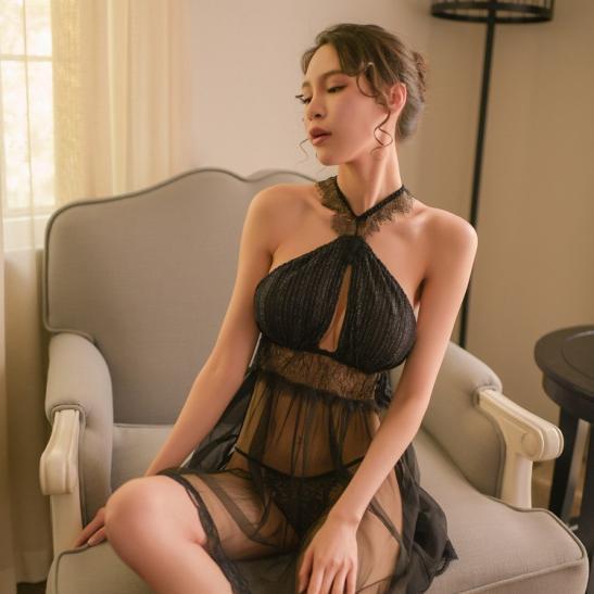 Váy ngủ siêu mỏng dạng yếm sexy - Ảnh 2