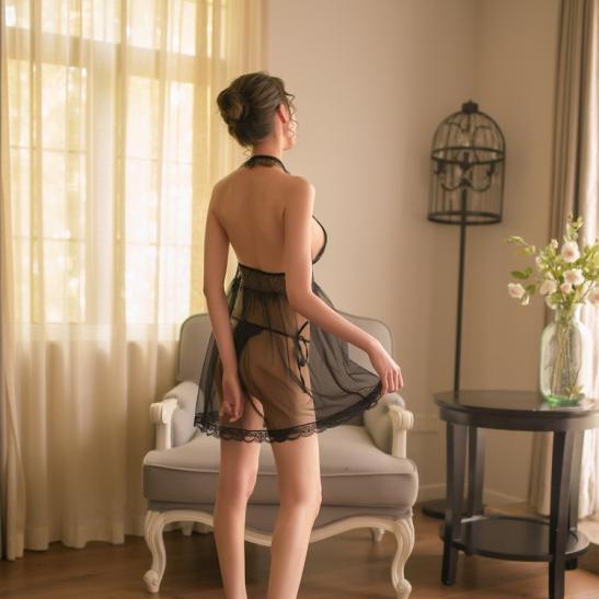 Váy ngủ siêu mỏng dạng yếm sexy - Ảnh 4