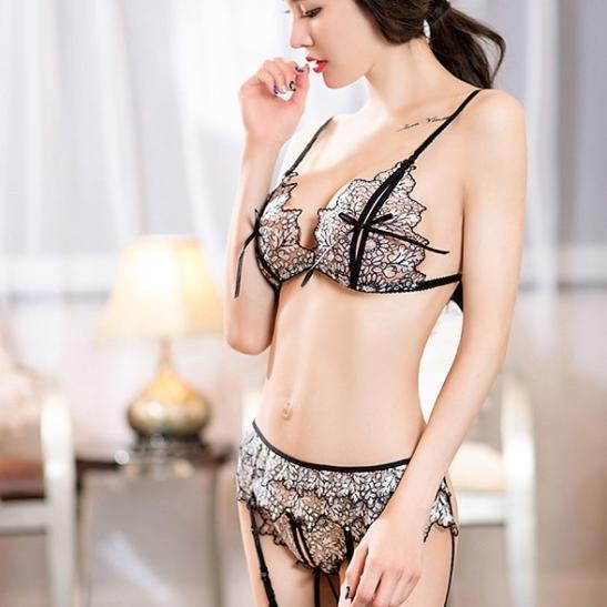 Áo ngực sexy cùng quần lót nữ lọt khe + kẹp vớ người tình + quần tất / vớ nhỏ nhắn - Ảnh 2