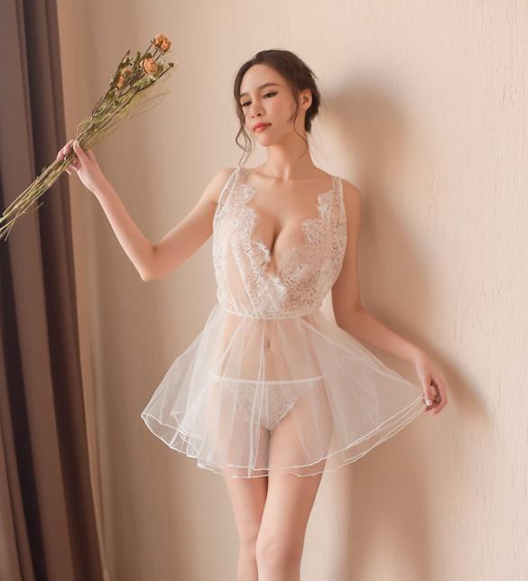 Váy ngủ cô dâu vải ren xoè trắng tinh khôi TK1239