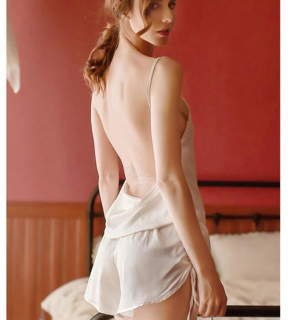 Bộ đồ ngủ lụa hở lưng gợi cảm - Màu Trắng, Đen Free size - Gợi cảm - bo-do-ngu-goi-cam-tk2041-1.jpg