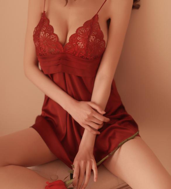 Váy ngủ lụa cao cấp ngực phối ren quyến rủ - Màu Đỏ đô, Hồng tím, Đen, Trắng Free size - Mặc vào cùng lên đỉnh luôn và ngay - tk1779-vay-ngu-lua-sexy-2.jpg
