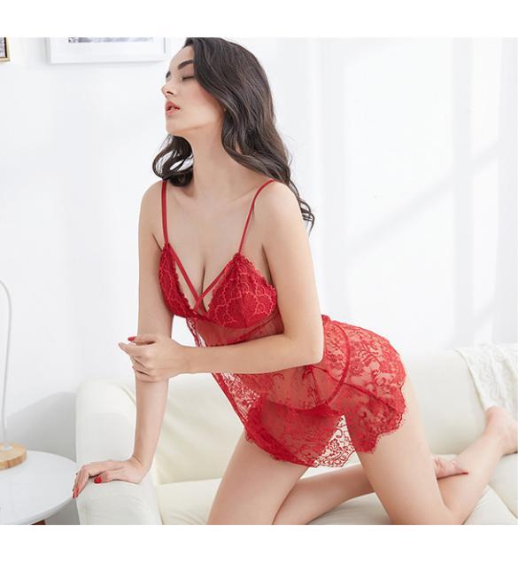 Đầm ngủ ren sexy cùng quần lót lọt khe nữ - Màu Đỏ, Hồng Free size - Không thể rời mắt - tk1980-vay-ngu-ren-mut-nguc-2.jpg