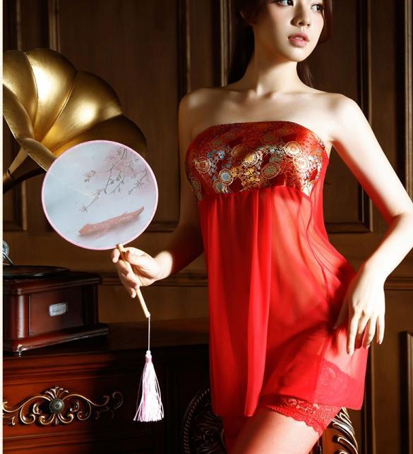 Váy ngủ cô dâu cổ trang xuyên thấu siêu sexy - Màu Đỏ Free size - Thăng hoa cùng người ấy - vay-ngu-co-dau-do-ruc-ro-tk3106-3.jpg