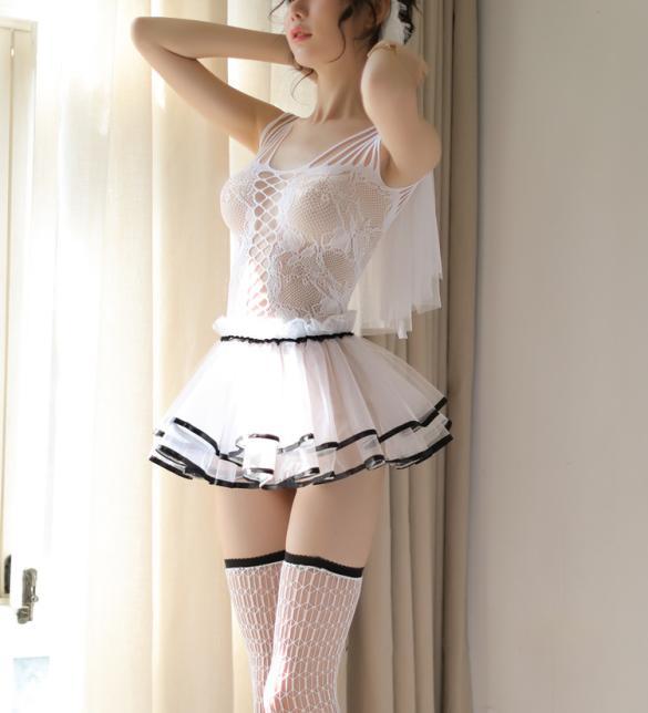Váy ngủ cô dâu quyến rũ phối màu đặc sắc cùng cài tóc dễ thương - Màu Đỏ, Đen Free size - Khiến chàng kiệt sức vì bạn - vay-ngu-co-dau-tk2081-sexy-2.jpg