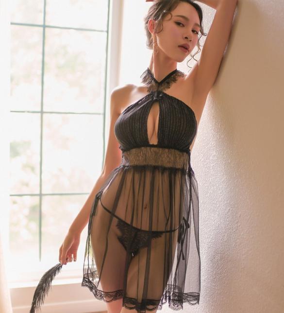 Váy ngủ siêu mỏng dạng yếm sexy - Màu Đen Free size - Hâm nóng cảm xúc - tk1357-dam-ngu-sieu-mong-1.jpg